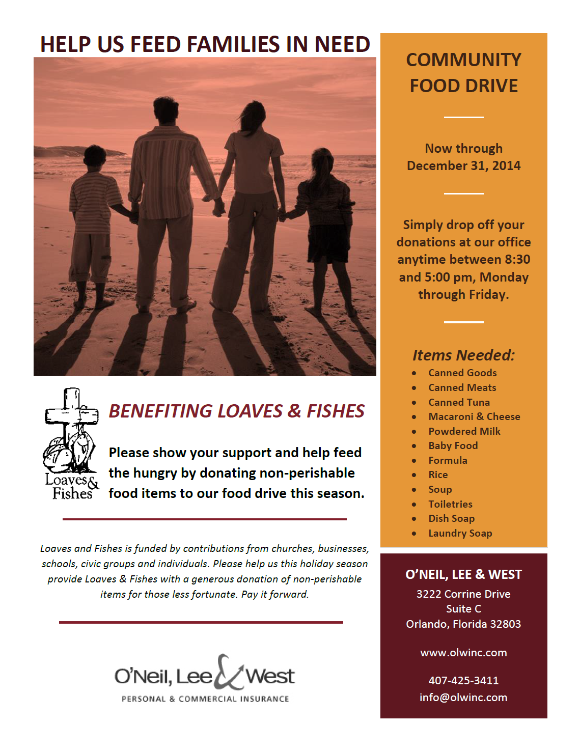 OLW Food Drive Flyer 2014